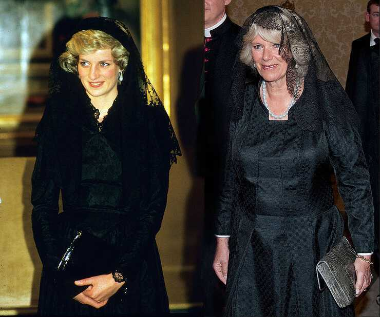 «Платье мести» и не только: 5 образов принцессы Дианы, которые скопировала Камилла Паркер-Боулз